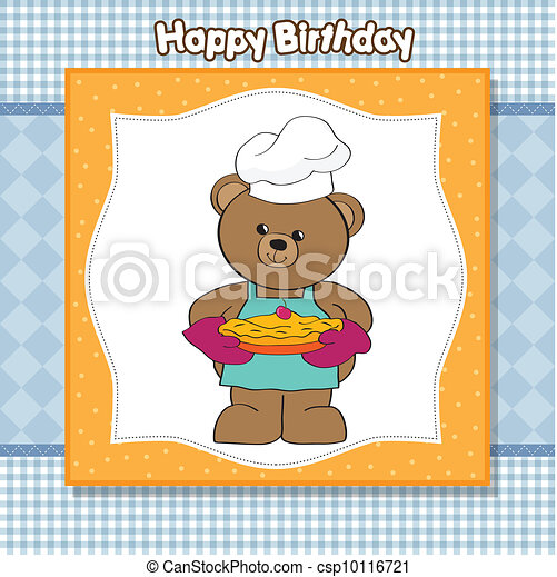 teddy bear with pie. birthday greet - csp10116721