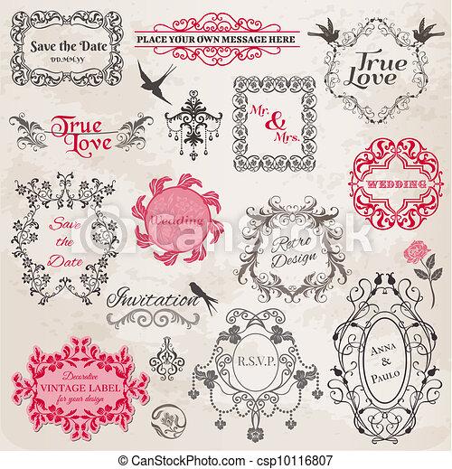Wedding Vintage Frames and Design Elements - in vector - csp10116807