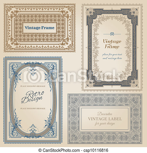 Vintage frames and design elements - with place for your text - in vector - csp10116816