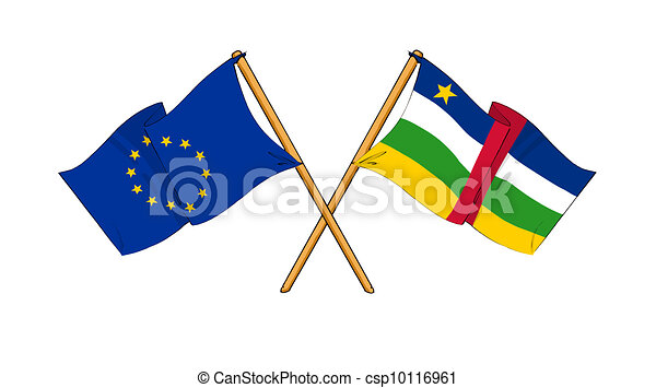 cartoon-like drawings of flags showing friendship between EU and Central African Republic - csp10116961