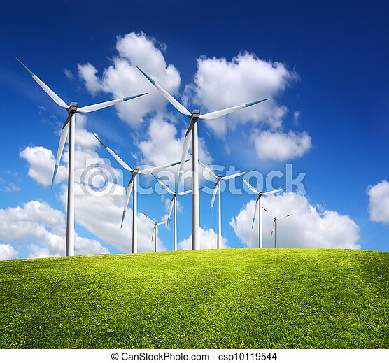 Windmills in summer landscape - csp10119544