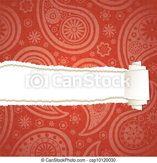 Torn paper with a paisley pattern - csp10120030
