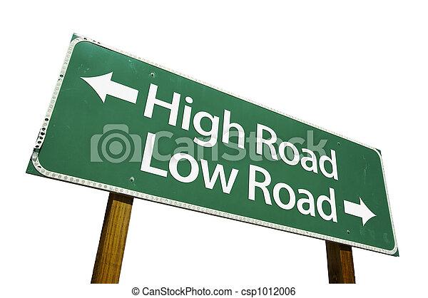 High Road, Low Road -Sign - csp1012006