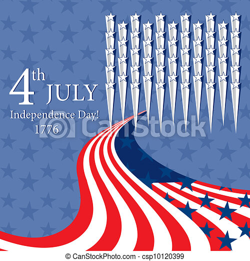 Happy Independence Day with stars. - csp10120399