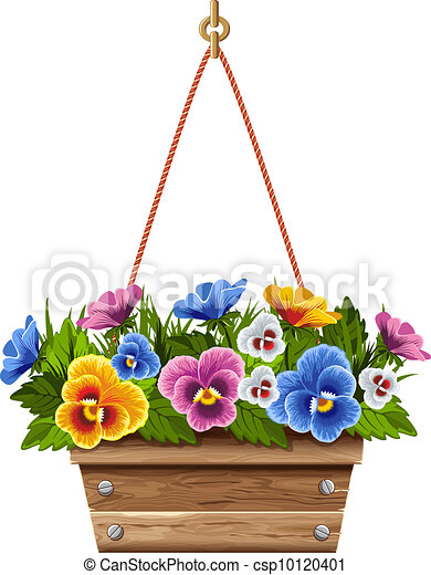 Wooden flower pot with pansies - csp10120401