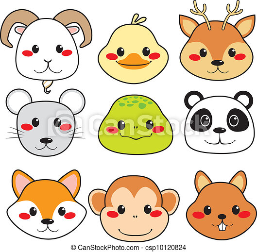 Happy Animal Faces - csp10120824