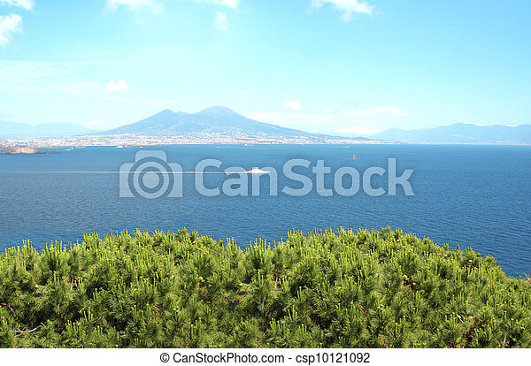 Volcano Mount Vesuvius and the Mediterranean Sea - csp10121092