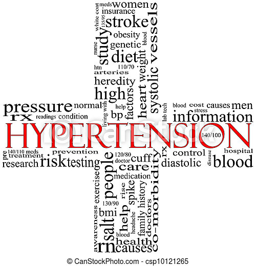 Black and Red Hypertension cross shaped word cloud concept - csp10121265