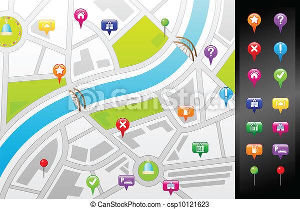 矢量-gps, 街道, 地图