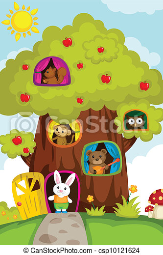 Animals in a treehouse - csp10121624