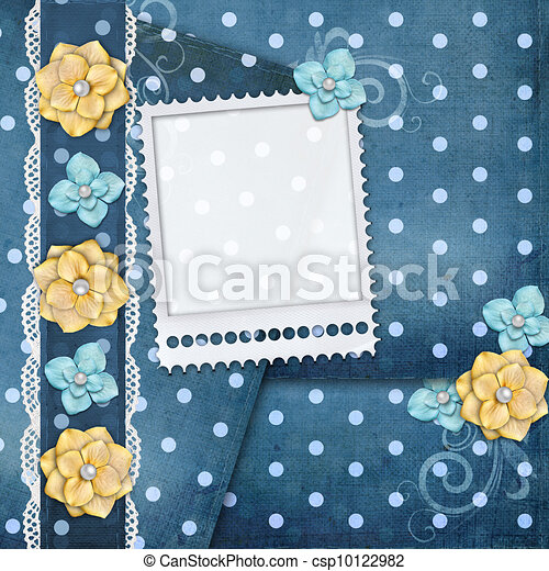 card with flowers  for congratulation to holiday - csp10122982