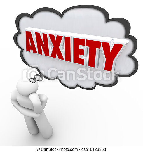 Anxiety Word Thought Bubble Cloud Thinking Man Worrying - csp10123368