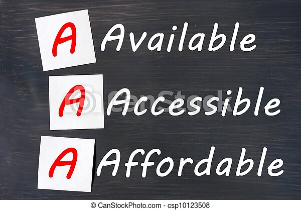 Acronym of AAA - available, accessible. affordable written on a blackboard - csp10123508