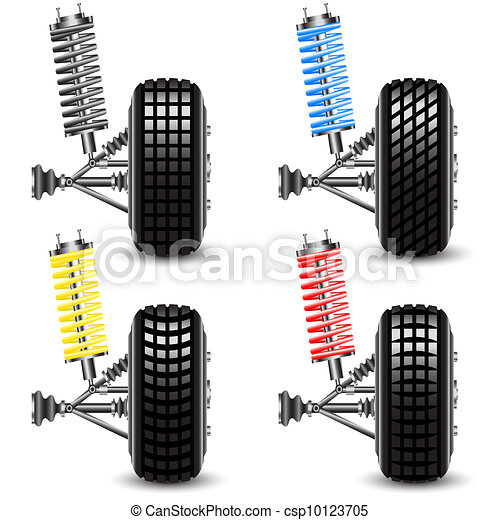 Set front car suspension, frontal view. Vector Illustration - csp10123705