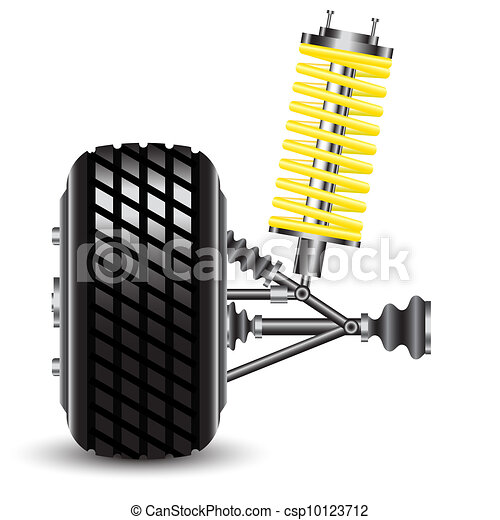 Front car suspension, frontal view. - csp10123712