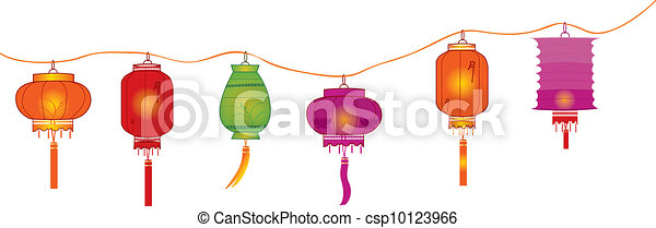 string of bright hanging lantern decorations on white - csp10123966