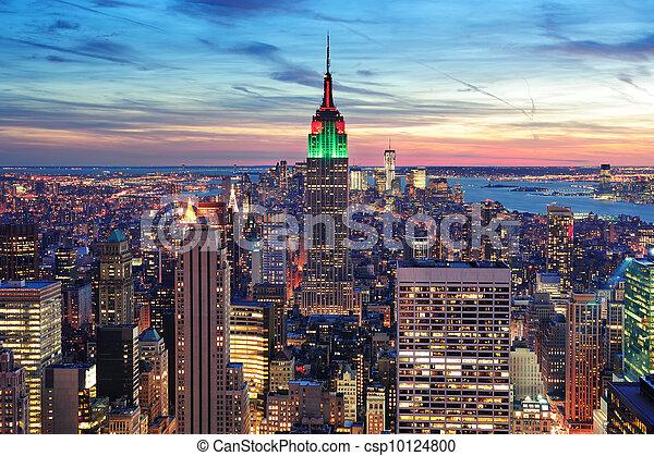 New York City Manhattan skyline aerial view - csp10124800