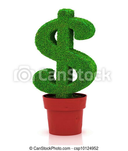 sign of dollar, growing in a flowe - csp10124952