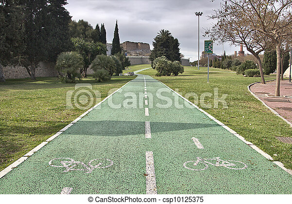 two-way bike path in a park - csp10125375