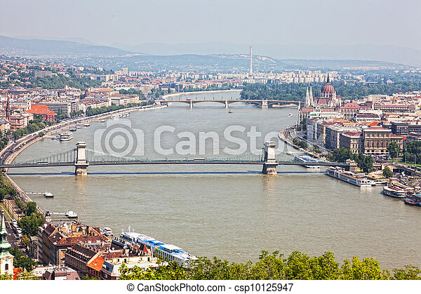 View on the bridges of Danube and the Hungary Parliament, Budapest  - csp10125947