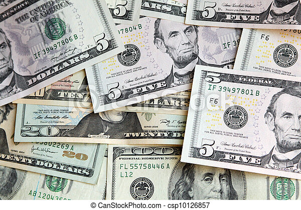 Heap of US dollars, notes of different values, money background