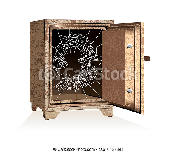 Vector. Dollar sign on spiderweb inside of an open safe - csp10127391