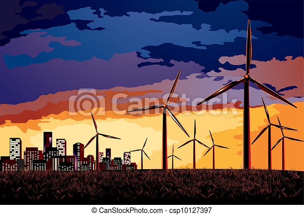 Vector. Electrical windmill over evening cityscape scene. - csp10127397