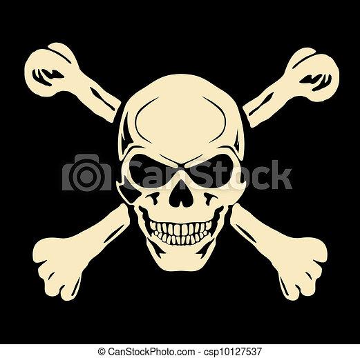 Vector. Evil skull with bones. Warning sign - csp10127537