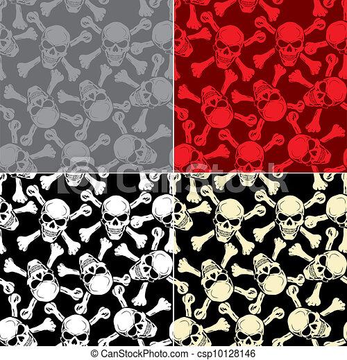 Vector. Evil skull with bones. Warning sign - csp10128146