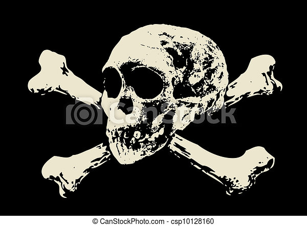 Vector. Evil skull with bones. Warning sign - csp10128160