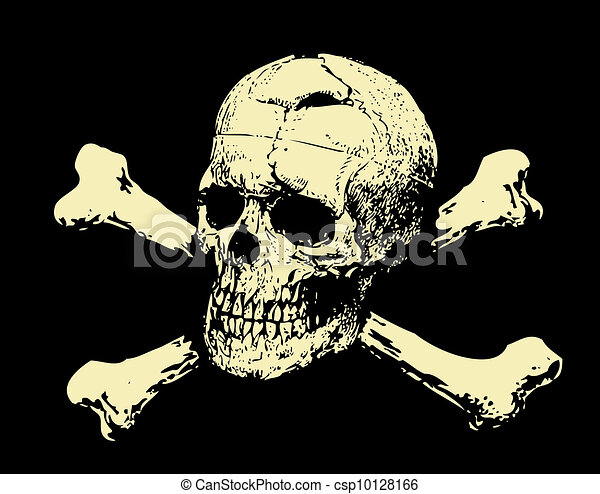 Vector. Evil skull with bones. Warning sign - csp10128166