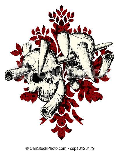 Vector. Evil skull with bones. Warning sign - csp10128179