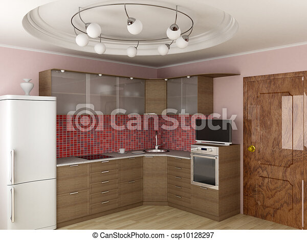 Interior of modern kitchen. 3D image. - csp10128297