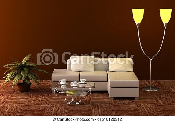 Interior of a living room. 3D image. - csp10128312