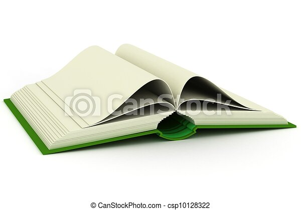 Opening book on a white background. 3D image. - csp10128322