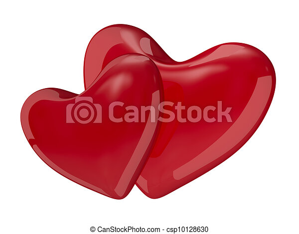 Two isolated hearts on white background. 3D image - csp10128630
