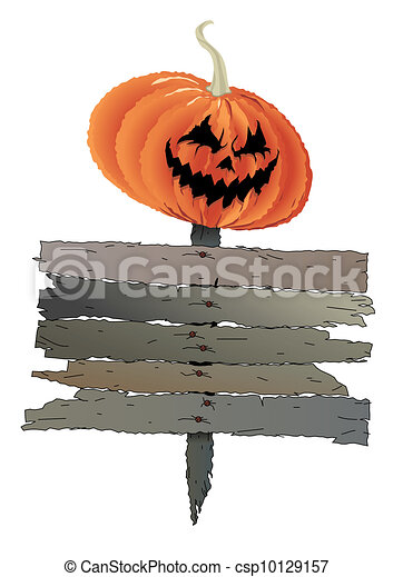 Pumpkin head with welcome message. - csp10129157