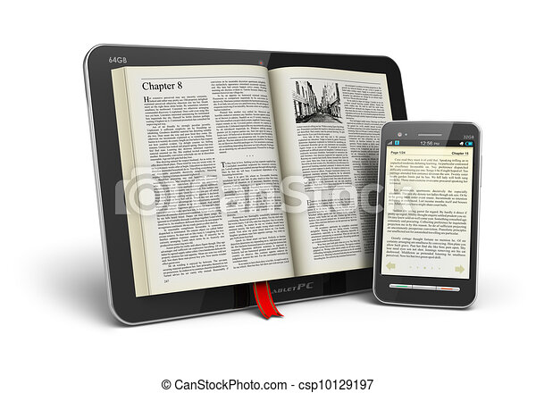 Book in tablet computer and smartphone - csp10129197