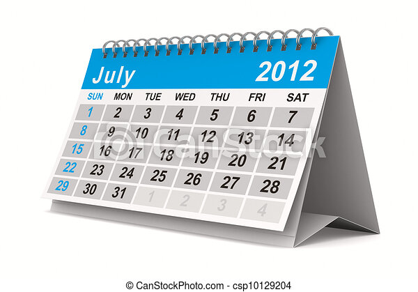 2012 year calendar. July. Isolated 3D image - csp10129204