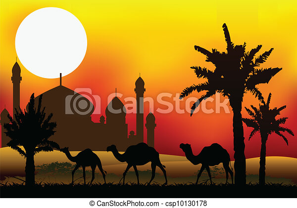 camel trip with mosque background - csp10130178