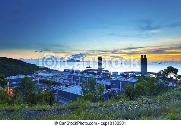 Sunset at power station in Hong Kong - csp10130301