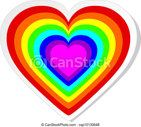 Rainbow heart sticker - csp10130648