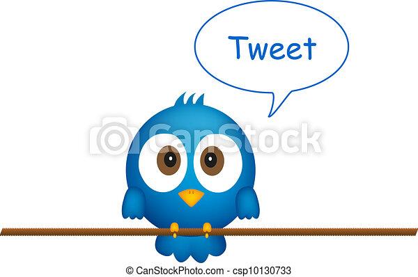 Blue bird sitting on rope, singing - csp10130733
