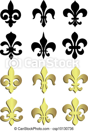Fleur de lis in black and gold - csp10130736