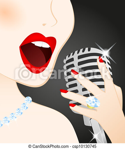 Close up of beautiful woman singing - csp10130745
