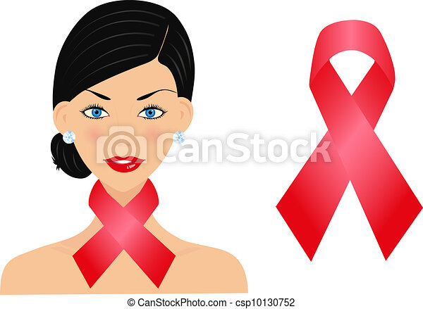 Beautiful woman with aids ribbon - csp10130752