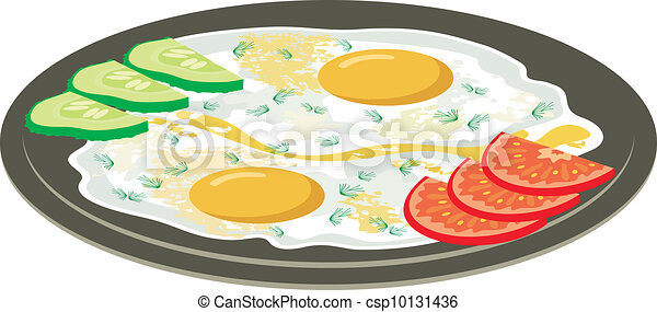 Fried eggs with vegetables - csp10131436