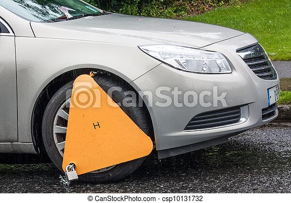 轮子, 钳, illegally, 三角形, 汽车, 黄色, 停车 - csp10131732