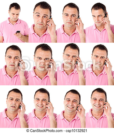 Male expressions on the phone - csp10132921