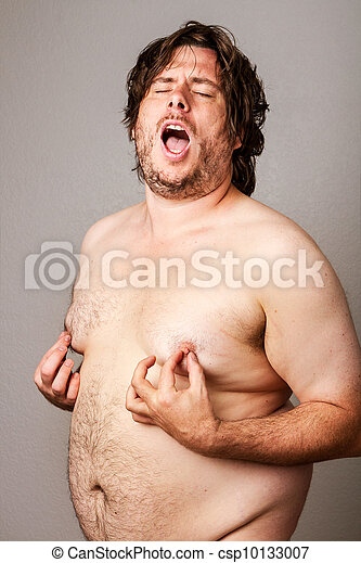 Man pleasuring his own nipples - csp10133007